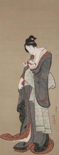 ⑮ 葛飾北斎「美人愛猫図」1