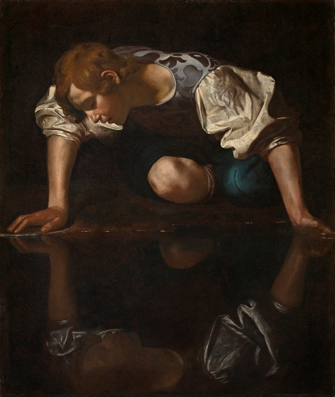 Caravaggio (Merisi, Michelangelo da (1571-1610): Narcissus (after restoration) Rome Galleria Nazionale d'Arte Antica *** Permission for usage must be provided in writing from Scala.