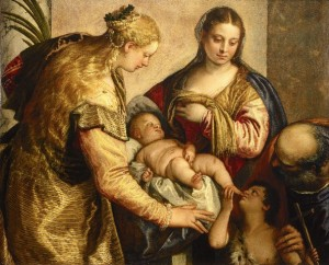 Veronese, Paolo (1528-1588): Holy Family with Saint Barbara. Florence, Galleria degli Uffizi *** Permission for usage must be provided in writing from Scala. ***