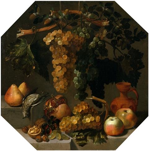 15.ブドウの房のある八角形の静物1